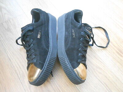 AU14.41 • Buy Puma Basket  Black Suede Platform  Trainers  Size Uk 8