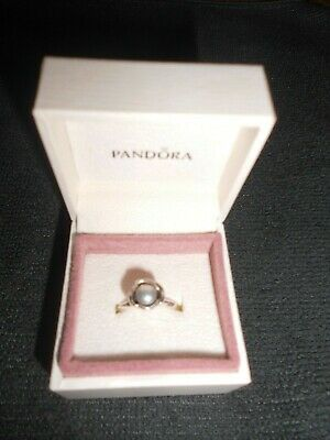 New Sterling Silver Ring Grey Freshwater Pearl - Pandora - Flower Design - Boxed • 24.95£