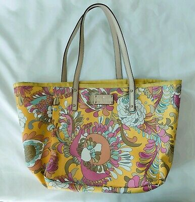 $ CDN31.52 • Buy KATE SPADE Shoulder Purse Shopper Small Tote Bag Yellow Pink Multicolor Floral