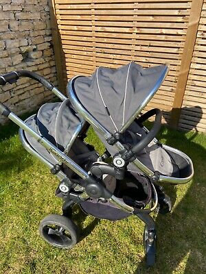 ICandy Peach Blossom Grey Infant Travel Solution Double Seat & Twin Carrycot • 250£