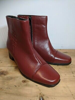 Womens Size 5 Red Leather Ankle Boots PAVERS BNWT RRP £74.99 • 14.99£