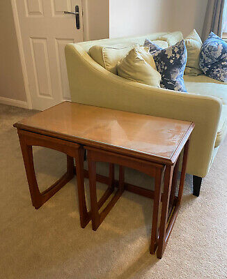 STUNNING Set Of 3 *G PLAN* Mid Century Nest Of Tables With Glass Tops • 50£