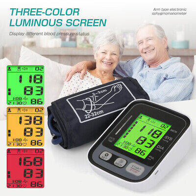 £16.99 • Buy 3-Color Digital Blood Pressure Monitor Automatic Upper Arm BP Machine Heart Rate