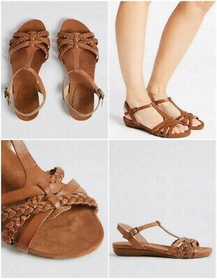 BNWT M&S Brown Wide Fit Leather Gladiator Sandals - UK 5.5  EUR 39       (ST104) • 16.99£
