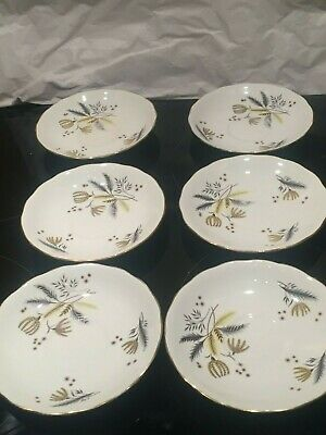 Vintage Colclough 'Stardust' English Fine Bone China Set Of 6 Tea Cup Saucers • 10£