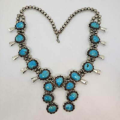 $ CDN1457.46 • Buy Native Navajo 166g Vintage Squash Blossom Sterling Silver Turquoise Necklace