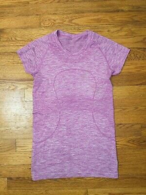 $ CDN38.06 • Buy Size 6 Lululemon Swiftly Tech Short Sleeve Top - Heathered Purple **Stained**