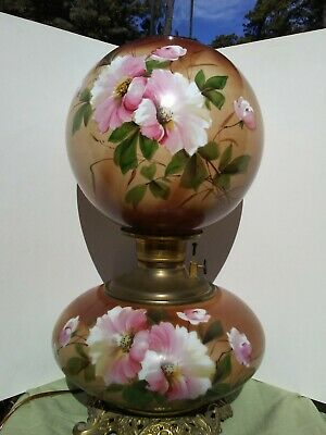 $ CDN697.77 • Buy Antique Victorian GWTW Oil Lamp Electrified Hand Painted Flowers 1890s