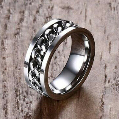 Silver Men Wedding Ring Spinning Chain Spinner Band Stainless Steel US Size 11 • 0.04£