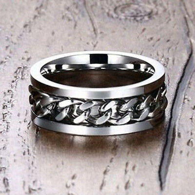 Silver Men Wedding Ring Spinning Chain Spinner Band Stainless Steel US Size 6 • 0.01£