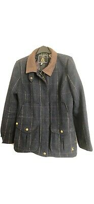 Joules Womens Ladies Country Sports Navy Tweed Field Coat Jacket Size 12 Exc Con • 110£