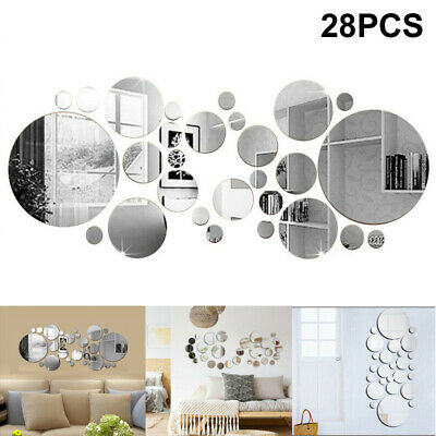 28X 3D Home Mirror Tiles Mosaic Wall Stickers Self Adhesive Bedroom Art Decal • 5.79£
