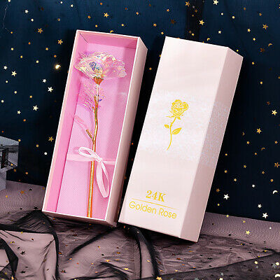 Romantic 24K Colorful Gold Rose Flower Valentines Day Gift Crystal Rose With Box • 5.98£