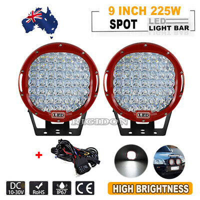 AU137.99 • Buy Pair 9Inch Led Driving Spot Light Bar Round Spotlights+Wire 4X4 Offroad Suv Car