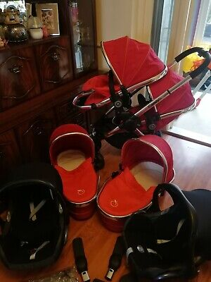 ICandy Peach Twin Pram And Pushchair. Car Seats. Red • 180£
