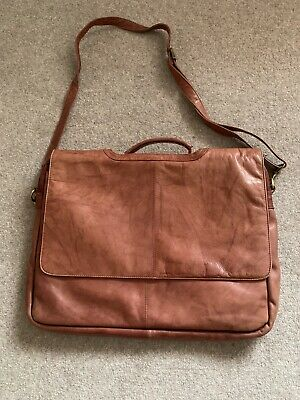 Genuine Leather Laptop Bag. Tan. Lots Of Pockets. Good Used Condition • 12£