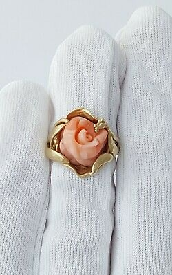 £240 • Buy Stunning 9ct Yellow Gold And Pink Coral Dress Ring