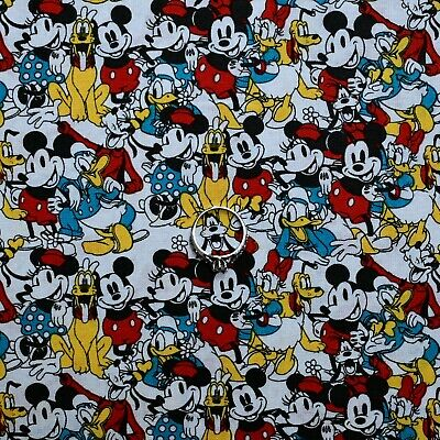 BonEful Fabric Cotton Quilt White Red B&W Disney Micky Minnie Mouse Kid US SCRAP • 0.75£
