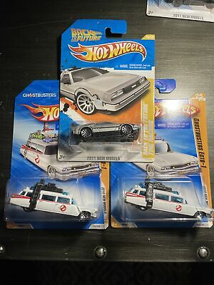 Lot 3 Ghostbusters Ecto-1 Hot Wheels 2010 Diecast Back To The Future Time Machin • 9.04£
