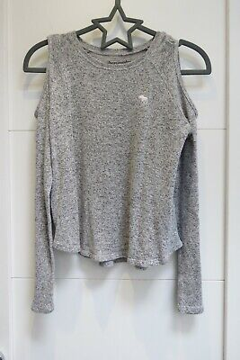 Girls Abercrombie Kids Grey Off The Shoulder Cardigan  - Age 9 -10 Years / USED • 5£