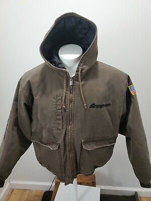 $ CDN72.54 • Buy Mens Distressed Snap On Tools Hooded Work Canvas Jacket Quilted Lining Mens L