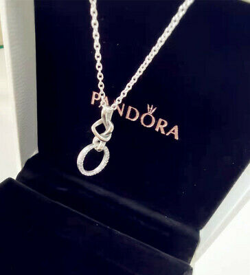 Pandora Genuine Sterling Silver Pendant Necklace #398078CZ Knotted Heart Gift UK • 17.99£