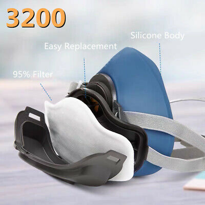 £12.99 • Buy 3200 Half Face Chemical Reusable Respirator Anti-Dust Paint Spray Safety+Filters