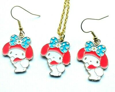 £6.99 • Buy Sanrio My Melody Pendant Necklace And Charm Earrings Hello Kitty In Gift Box