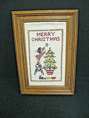 $ CDN12.34 • Buy Vintage Christmas Cross Stitch Picture Needlepoint Christmas Tree Picture