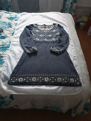£14.99 • Buy FAT FACE Blue & Cream Knitted Nordic Fair Isle Jumper Dress Long Sleeve Size 12