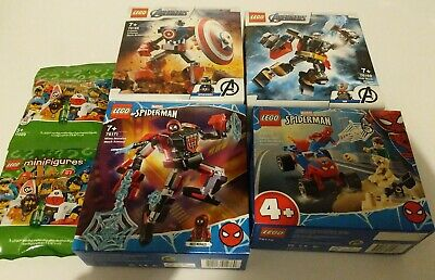 Lego Marvel Sets X4 Spider-Man Thor & Captain America Mech  New Avengers MiniFig • 22£