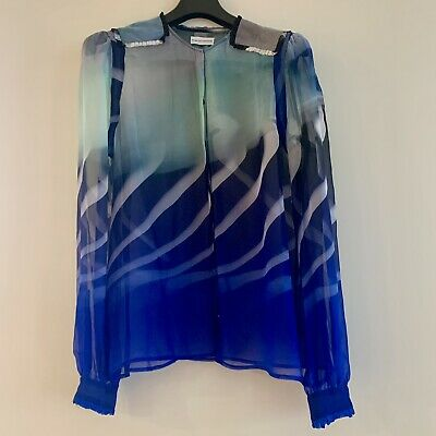 AU89 • Buy Scanlan Theodore Blue Sheer Blouse Size 10