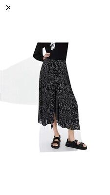 Zara Black And White Polka Dot Front Buttoned Maxi Skirt L 14-16 Fully Lined • 25£