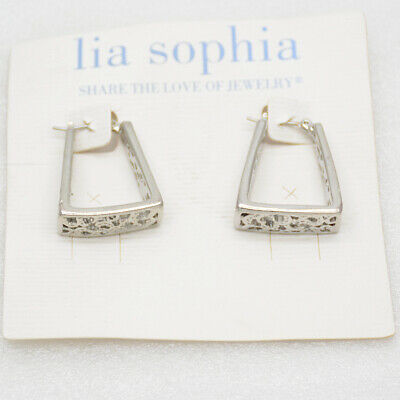 $ CDN8.82 • Buy Lia Sophia Jewelry Silver Tone Trapezoid Geometric Shapes Openwork Hoop Earrings
