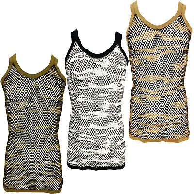 £4.49 • Buy Mens String Mesh Vest Camo Cotton Camouflage Fish Net Fitted String Summer Vest
