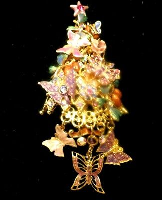 $ CDN44.19 • Buy Vintage Kirks Folly Dangling Butterfly Jeweled Christmas Tree Pin Rare