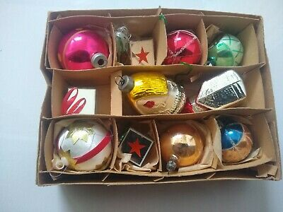 $ CDN52.92 • Buy Vintage Christmas Baubles Decorations Tree Ornaments X 11