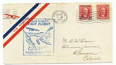 $ CDN10.01 • Buy Canal Zone 1929 First Flight Cover FAM5 Lindbergh Cristobal To US F5-2 Cachet Q2