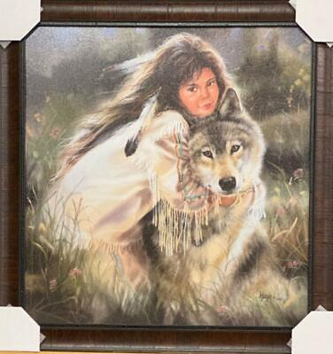 $139.95 • Buy Maija Squeeze Play Girl And Wolf Art Print-Framed 27 X 28
