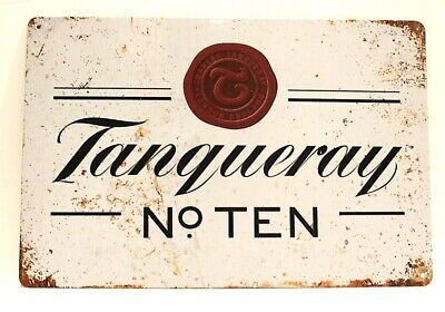 New Tanqueray Gin Tin Metal Poster Sign No 10 Number Bar Man Cave Vintage Look   • 5.41£