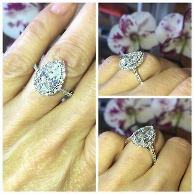AU169.99 • Buy 3.8ct Pear Cut Diamond Engagement Ring Accent Solitaire Halo 14k White Gold Over