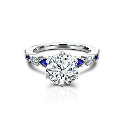 AU129.99 • Buy Milgrain Solitaire With Accents Ring 1.5ct Round Cut Diamond 14k White Gold Over