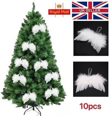 10PC Christmas Tree Decoration Hanging Feather Angel Wings Xmas Ornament White • 2.96£