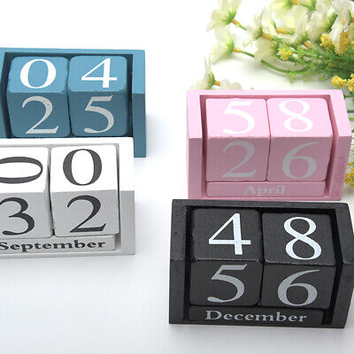 £5.87 • Buy Wooden Perpetual Calendar Rotating Blocks Date Month Day Desk Office Decor