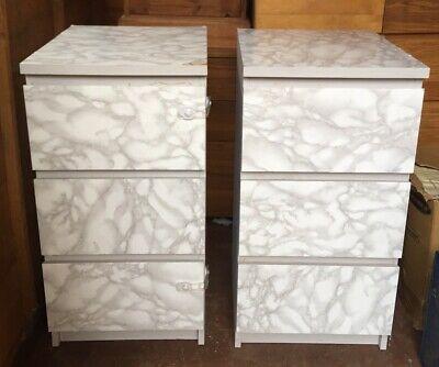 2x Wooden Quality Bedside Cabinet With 3 Drawers • 40£