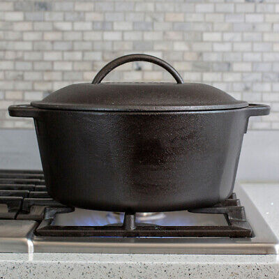 "$ CDN74.66 • Buy Cast Iron Dutch Oven, 5-Quart, 10"", Pre-Seasoned And Ready To GO! Flat Bottom Fo"