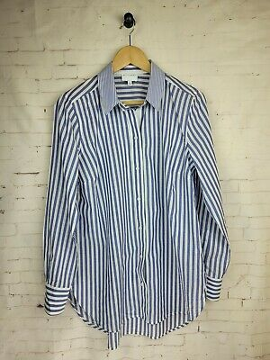 AU31 • Buy WITCHERY Size 12 Striped Blue & White Long Sleeve Button Front Shirt Top Blouse