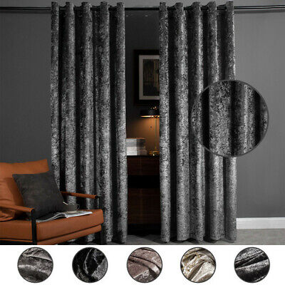 Luxury Crushed Velvet Pair Fully Lined Ready Made Ring Top Eyelet Curtains Grey • 18.99£