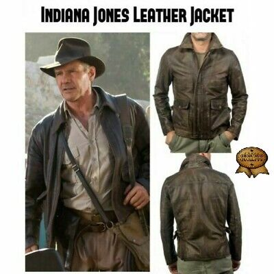 Indiana Jones Harrison Ford Classic Genuine Real Distressed Leather Jacket • 74.99£