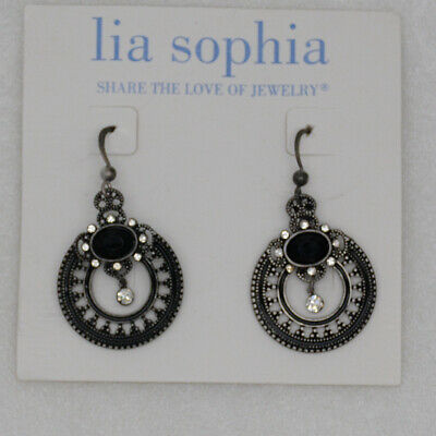 $ CDN10.88 • Buy Lia Sophia Jewelry Vintage Silver Drop Dangle Teardrop Earrings Cut Crystals